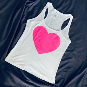 Forever21 White Tank Top with Pink Heart, Size M